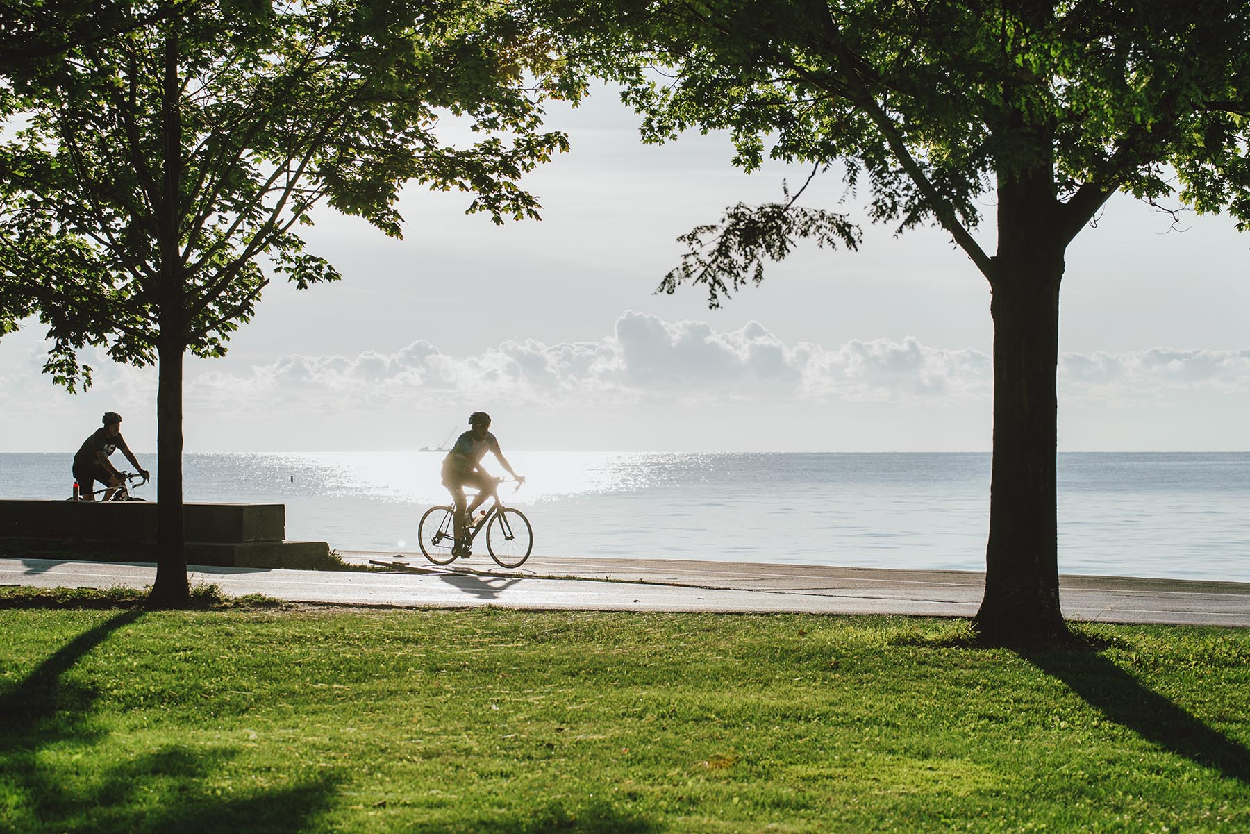 Biking on the Lakeshore Path near 1550 N Clark