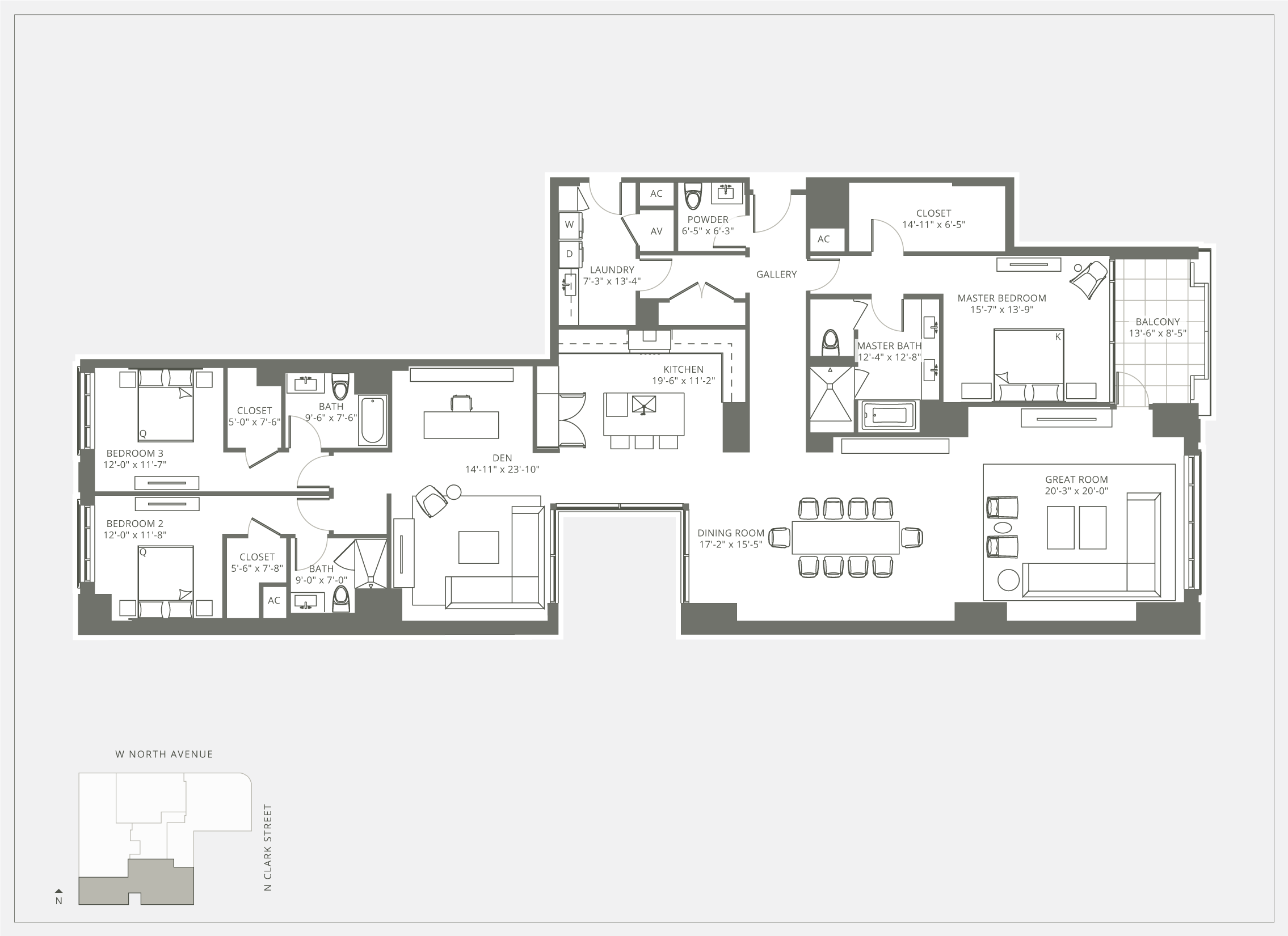 3 Bedroom Floor Plan at Fifteen Fifty on the Park
